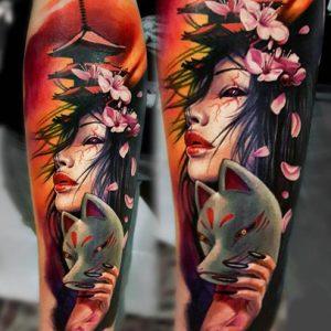 tatuaje geisha kitsune